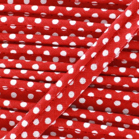 Dotty cotton Piping - white/Red x 1m