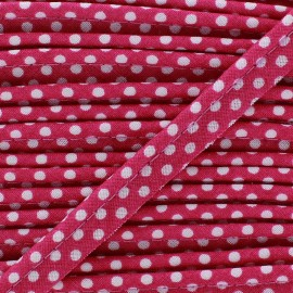 Dotty cotton Piping - white/lie de vin x 1m