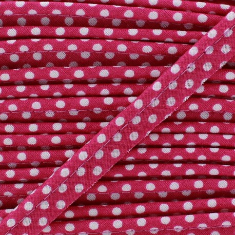 Dotty cotton Piping - white/lit de vin x 1m