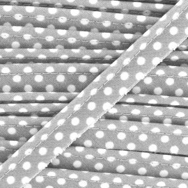 Dotty cotton Piping - white/grey x 1m