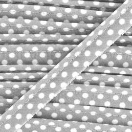 Passepoil coton à pois blanc/gris clair x1m
