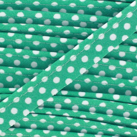 Dotty cotton Piping - white/blue-green x 1m