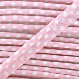 Passepoil coton à pois blanc/rose pale x1m