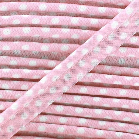 Dotty cotton Piping - white/pink x 1m
