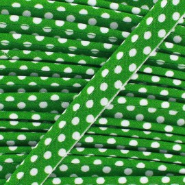 Dotty cotton Piping - white/green x 1m