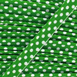 Passepoil coton à pois blanc/vert x1m