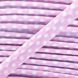 Dotty cotton Piping - white/lilas x 1m