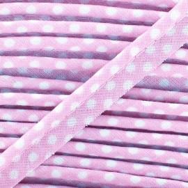 Passepoil coton à pois blanc/lilas x1m