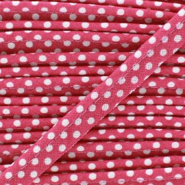 Dotty cotton Piping - white/candy pink x 1m