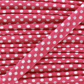 Passepoil coton à pois blanc/rose bonbon x1m