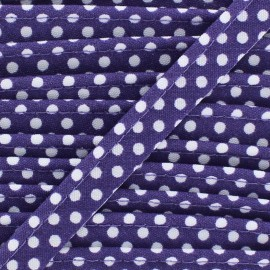 Dotty cotton Piping - white/purple x 1m