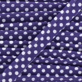 Passepoil coton à pois blanc/violet x1m