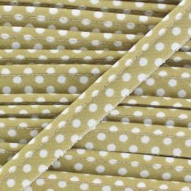 Passepoil coton à pois blanc/sable x1m