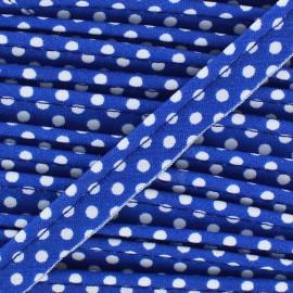 Passepoil coton à pois blanc/navy x1m