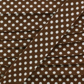 Cotton bias binding, with white polka dots - brown