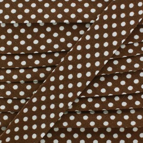 Biais coton à pois blanc/marron