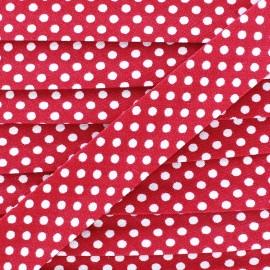 Biais coton à pois blanc/rose bonbon