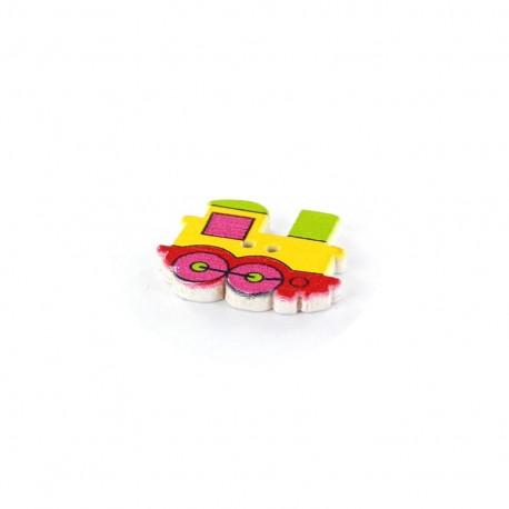 Wooden button, Locomotive multi - yellow