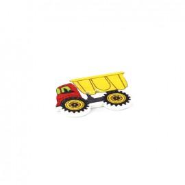 Bouton bois camion benne multi jaune