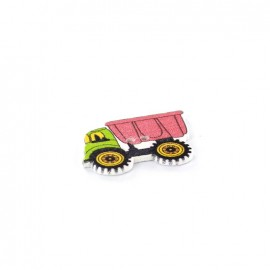 Wooden button, dump truck multi - pink