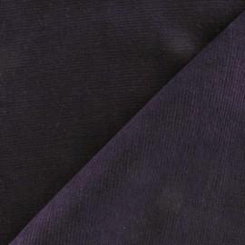 Tissu velours milleraies élasthanne aubergine x10cm