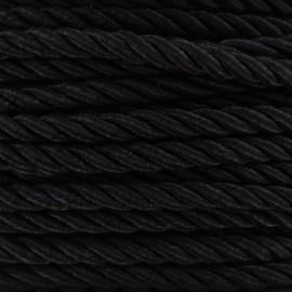 Satiny twisted Cord 5mm - black x 1m