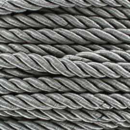 Satiny twisted Cord 5mm - grey x 1m