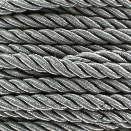 Satiny twisted Cord 4mm - grey x 1m