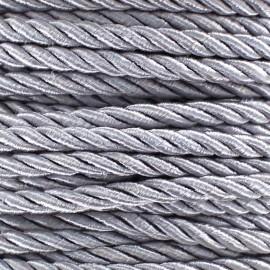 Cordon torsadé satiné 5 mm gris perlé x 1m