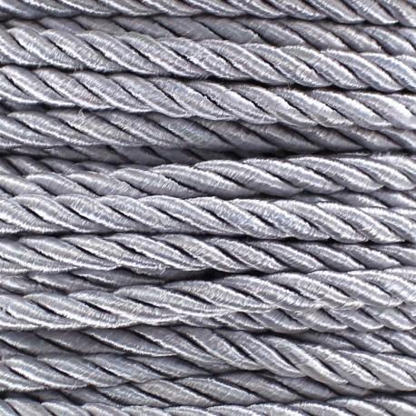 Cordon torsadé satiné 4 mm gris perlé x 1m