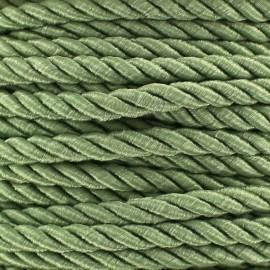 Cordon torsadé satiné 5 mm vert lichen x 1m