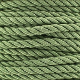 Satiny twisted Cord 5mm -  green lichen x 1m