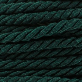 Satiny twisted Cord 5mm -  green bottle x 1m
