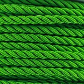 Cordon torsadé satiné 5 mm vert prairie x 1m