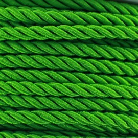 Satiny twisted Cord 5mm -  green meadow x 1m