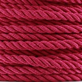 Satiny twisted Cord 5mm - fuchsia x 1m