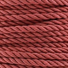 Satiny twisted Cord 5mm - old rose x 1m