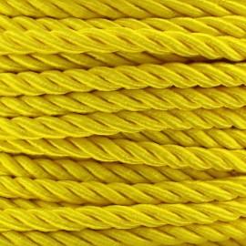 Cordon torsadé satiné 5 mm jaune x 1m