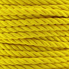 Satiny twisted Cord 5mm - yellow x 1m