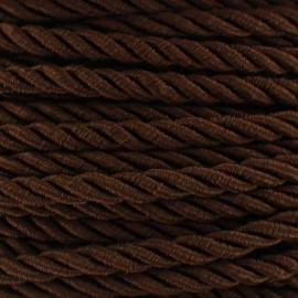 Satiny twisted Cord 5mm - brown x 1m
