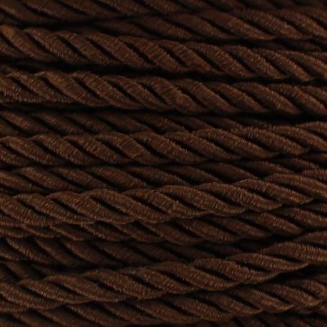 Cordon torsadé satiné 4 mm marron x 1m