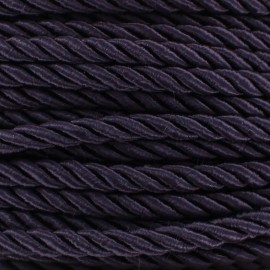 Cordon torsadé satiné 5 mm violet foncé x 1m