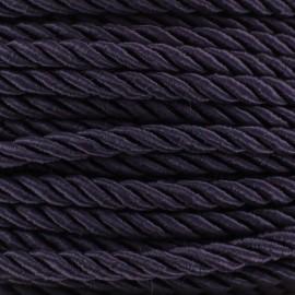 Satiny twisted Cord 5mm - dark purple x 1m