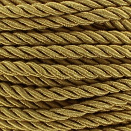 Satiny twisted Cord 5mm - antique gold x 1m