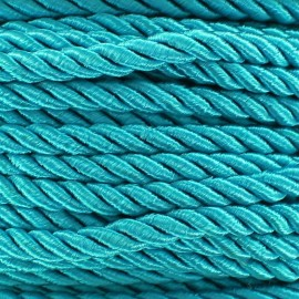 Satiny twisted Cord 5mm - azure x 1m