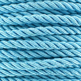 Satiny twisted Cord 5mm - sky x 1m
