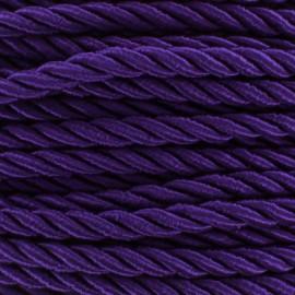 Cordon torsadé satiné 5 mm violet x 1m