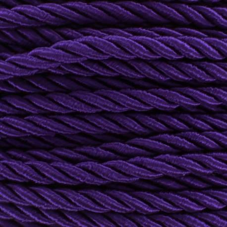 Cordon torsadé satiné 4 mm violet x 1m
