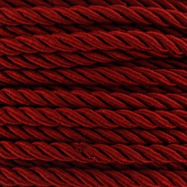 Satiny twisted Cord 5mm - carmine red x 1m