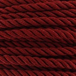 Satiny twisted Cord 5mm - garnet red x 1m